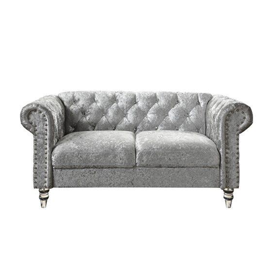 Tufted design low profile glam gray velvet loveseat