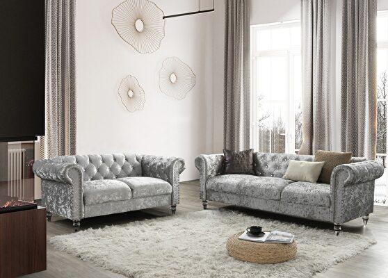 Tufted design low profile glam gray velvet sofa