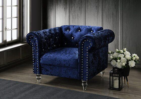 Tufted design low profile glam dark blue velvet chair