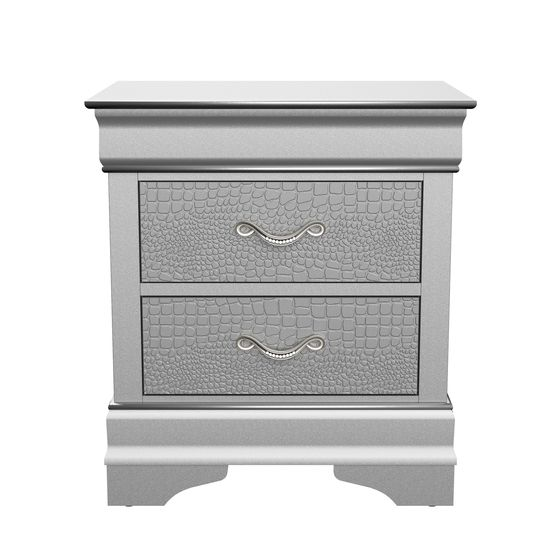 Silver / gray contemporary night stand