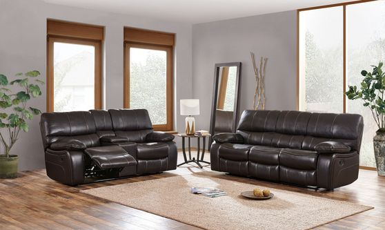 Dark brown leather contemporary reclining sofa