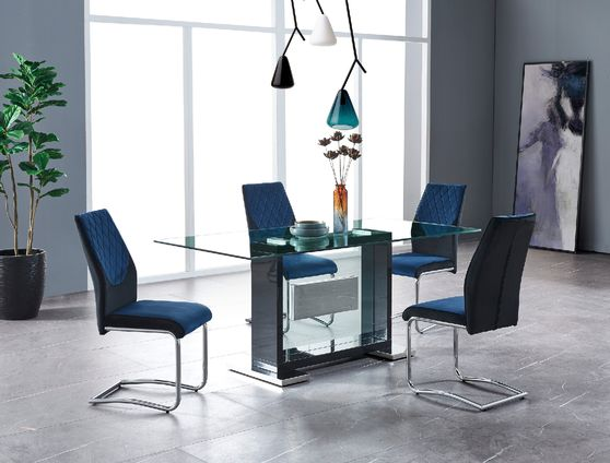 Modern glass top black base dining table