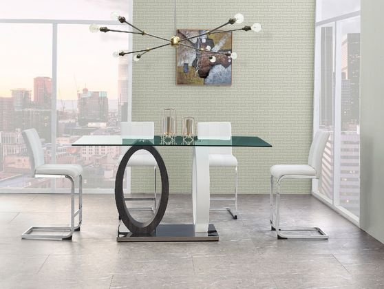 Double oval base / glass top bar table