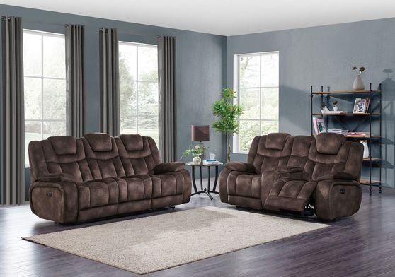 Night range chocolate microfiber recliner sofa