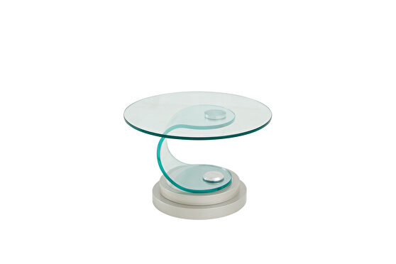 Clear bent glass round end / side table