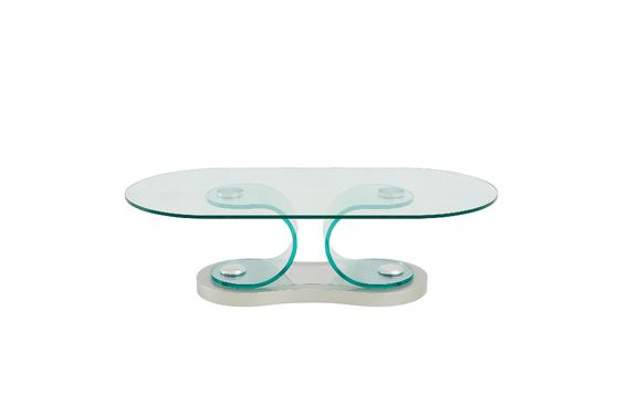Clear bent glass oval coffee table