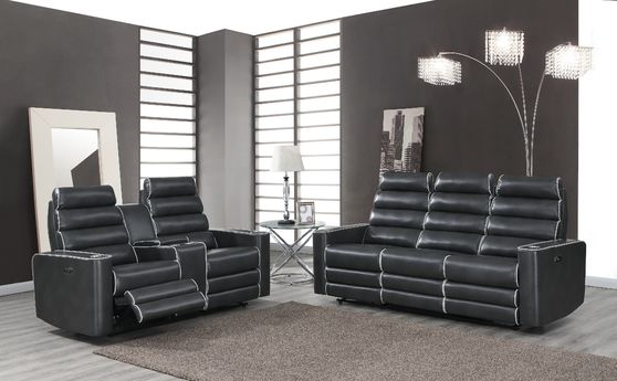 Espresso power reclining / adjustable headrest sofa