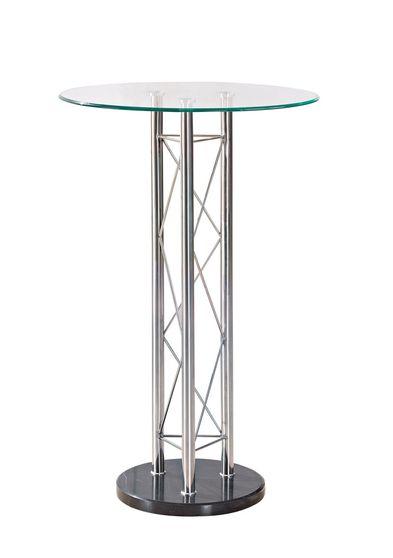 Silver / clear chrome metal circular bar table