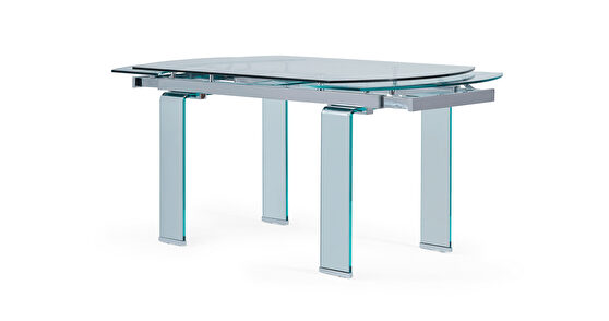 Contemporary full glass dining table w/ extensions