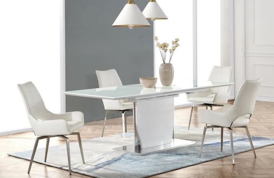 White high gloss modern table w/ extension