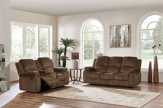 Brown extra plush coffee rec sofa w/ drop down table