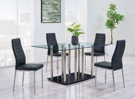 Futuristic design dining table with 4 chairs