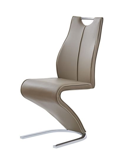 Z-shaped tan leatherette dining chair