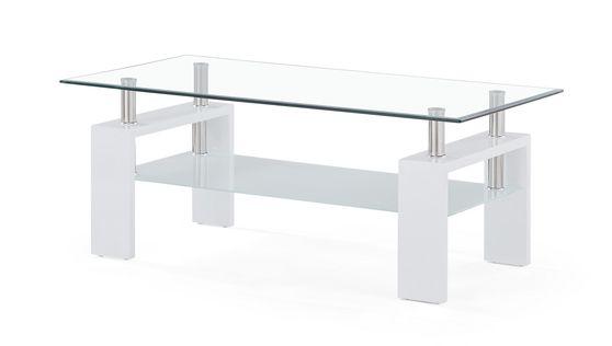 White base / rectangular glass top coffee table