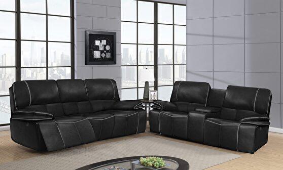 Black power reclining sofa