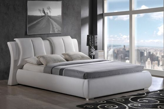 Casual style white bed w/ unique pillow headboard