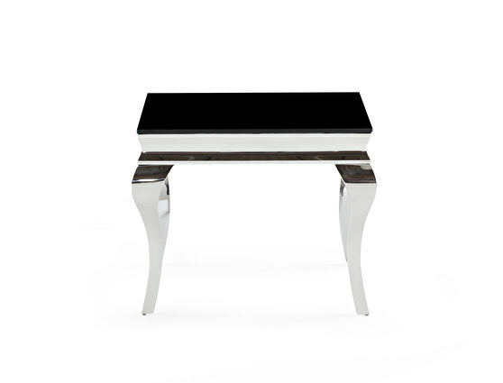 Black / silver queen anne style end table