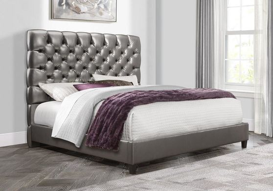 Metallic gray tufted headboard modern bed