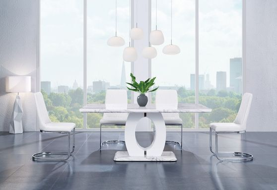 White faux marble dining table