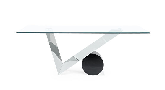 Black / steel geometric style glass top dining table