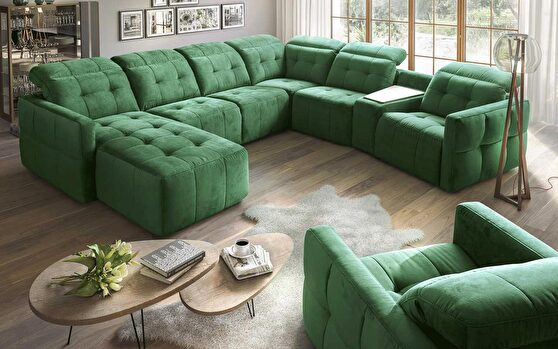 Living room oversized custom made sectional w/ recliner