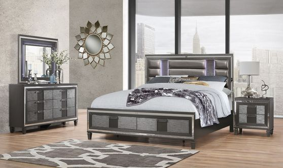 Modern LED bedroom set in metallic gray