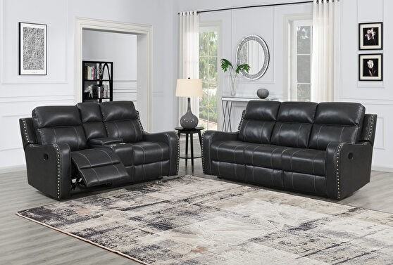 Dark charcoal gray stylish recliner sofa