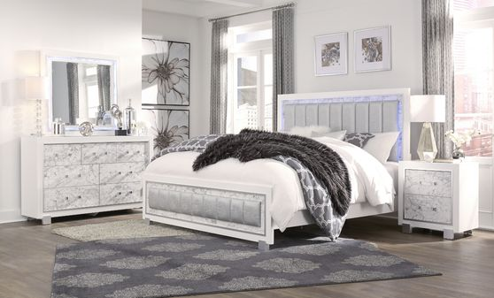 White exquisite queen bed w/ LED