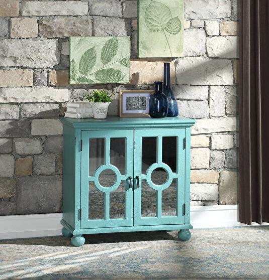 Antique aqua accent cabinet
