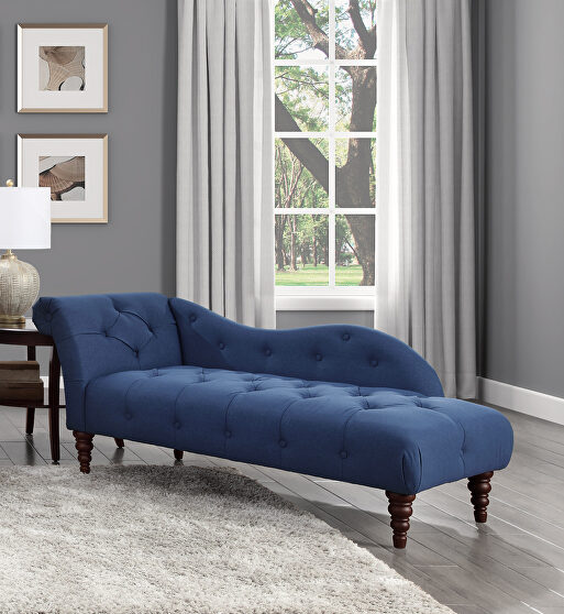 Blue textured fabric upholstery chaise