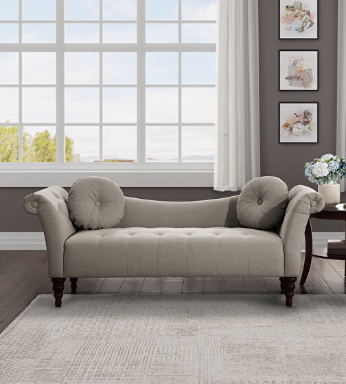 Brown textured fabric upholstery settee