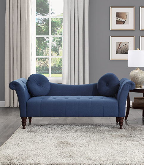 Blue textured fabric upholstery settee
