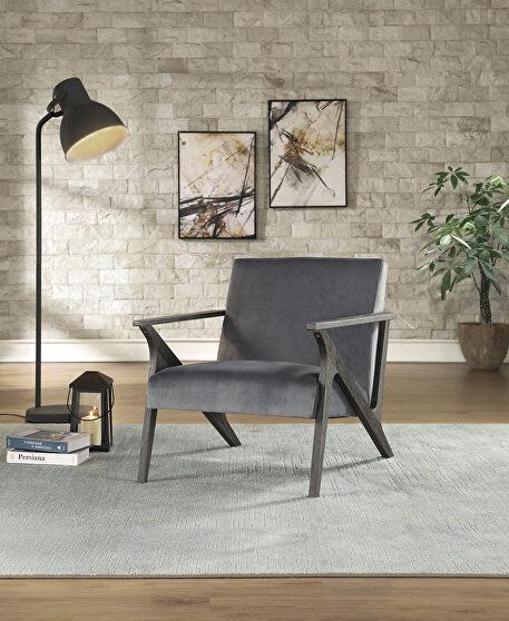 Gray velvet upholstery accent chair