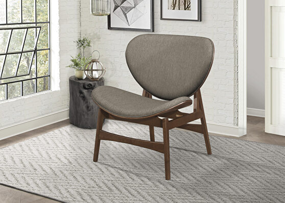 Brown gray textured fabric upholstery lounge chair