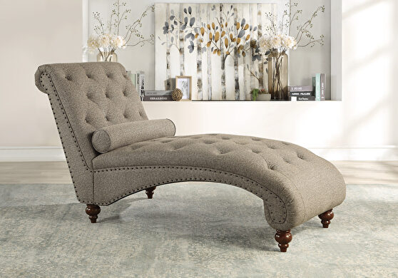 Brown textured fabric upholstery chaise with nailhead and pillow