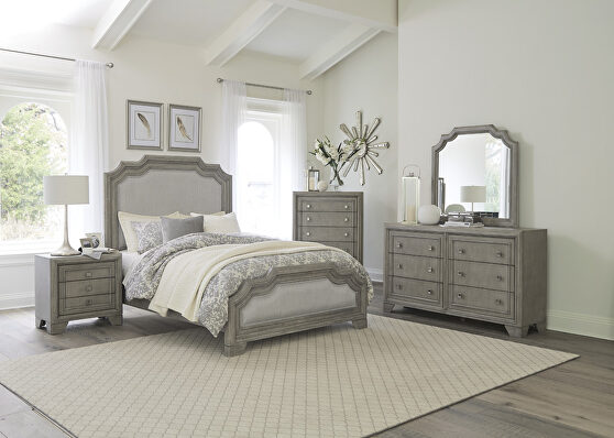 Driftwood gray finish traditional design queen bed