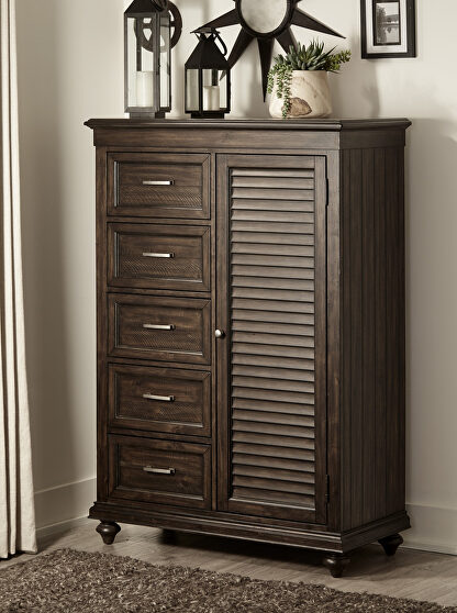 Driftwood charcoal finish solid transitional styling wardrobe chest