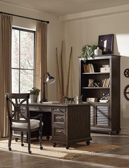 Driftwood charcoal finish executive desk