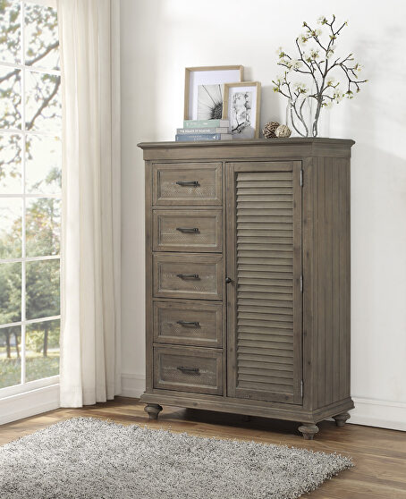 Driftwood light brown finish solid transitional styling wardrobe chest