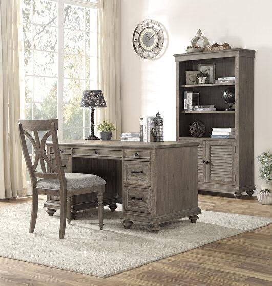 Driftwood light brown finish executive desk