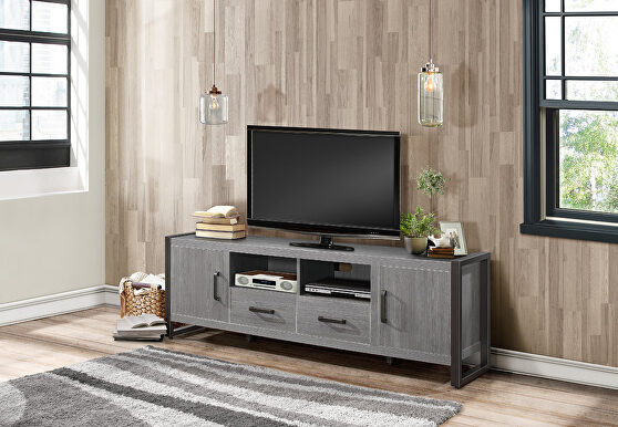 Brown and gunmetal finish 63 TV stand