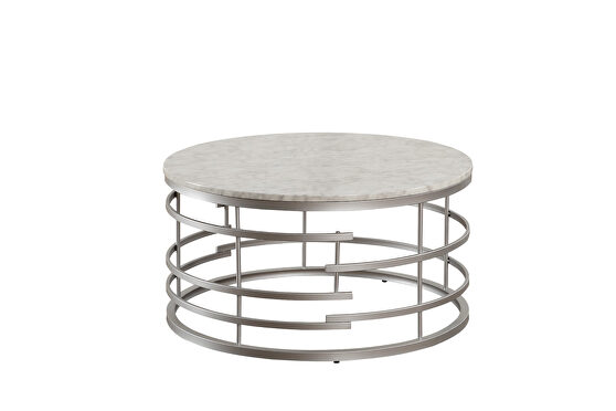 Faux marble top and silver finished round metal base sofa table