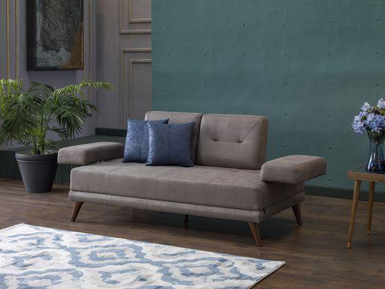 Vena gray fabric retro-contemporary style loveseat