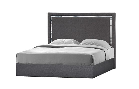 Contemporary charcoal low-profile bed
