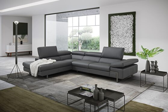 Italian-made gray full leather contemporary sectional