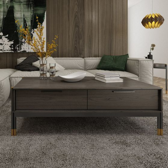 Contemporary slim design solid wood coffee table