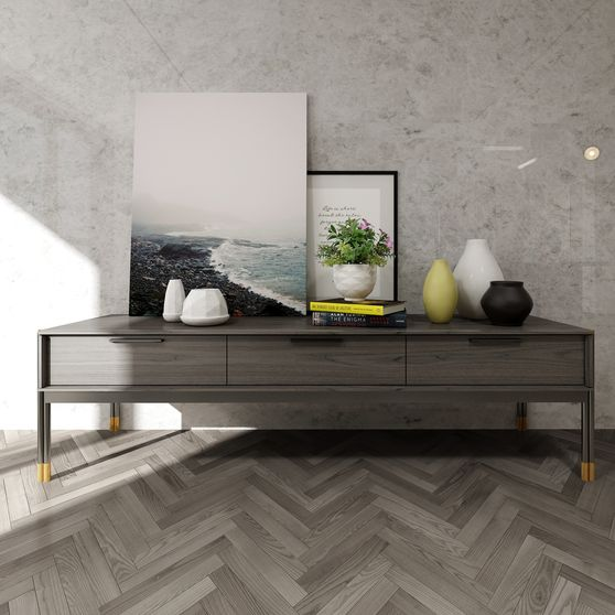 Ultra-contemporary solid wood tv unit w/ 3 drawers