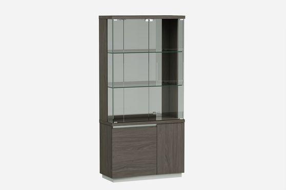 Contemporary gray laquer vetrina / curio