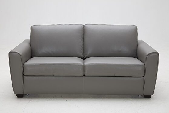 Pull out sofa bed in thick gray leather