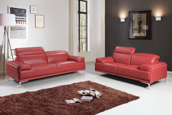 Modern stylish adjustable headrest red leather sofa